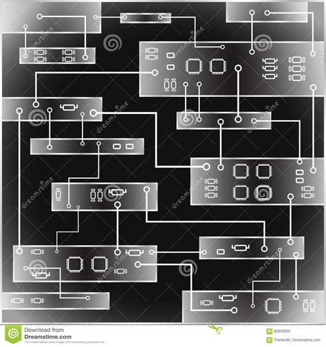 Circuit Board Vector Background Abstract Black