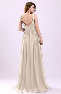 cream modern a line sleeveless zipper chiffon ruching With cream dresses for a wedding guest