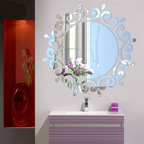 mirror floral wall stickers art decal mural removable home