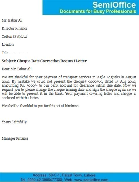 cheque date correction letter