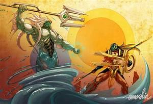 Poseidon Vs. Horus by emmshin on DeviantArt
