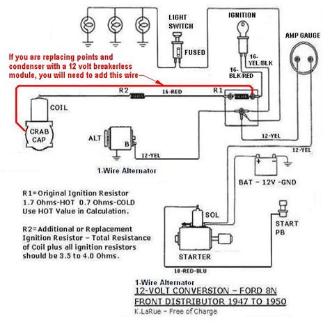Ford Model A 12 Volt Wiring Diagram by 8n 12v Conversion Diagram For One Wire With A Front