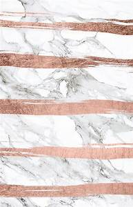 'Modern chic faux rose gold brush stripes white marble ...
