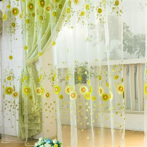 white kitchen curtains with sunflowers ropalia sunflower tulle voile window drape panel sheer