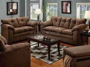 Luna Chocolate Microfiber Sofa And Loveseat Set 6565