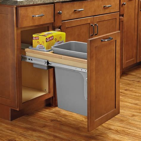 pull out garbage cabinet single trash pullout 35 quart w soft close 4wctm