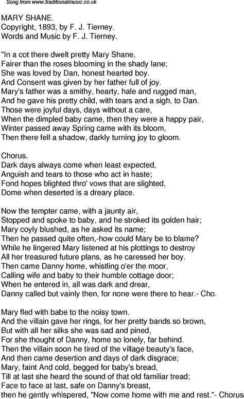 Sound of music is one of my favorite movie. Old Time Song Lyrics for 41 Mary Shane