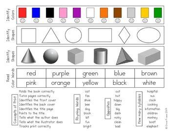 kindergarten assessment form by grace in kindergarten tpt 936   original 44662 2