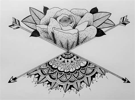 Rose Floral Mandala Henna Zentangle Geometric Arrow Tattoo