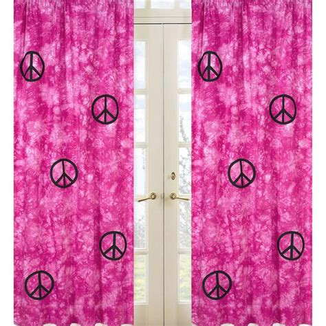 groovy pink peace sign tie dye 84 inch curtain panel pair