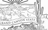 Canyon Grand Arizona Outline National Park Coloring Nussbaum Quarter State sketch template