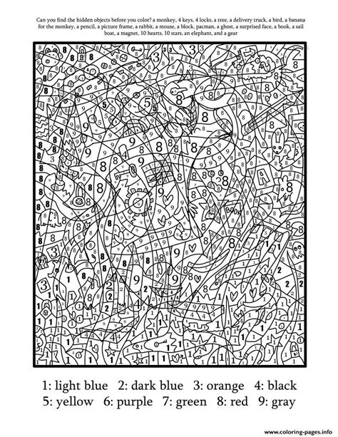 Print color by number for adults hard difficult coloring