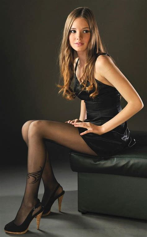 Black Dress Sheer Tights With Side Pattern Heels Tights Outfit Pinterest Beautiful Sexy