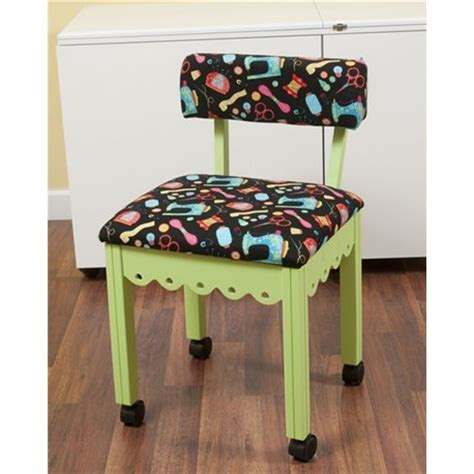 arrow sewing chair with riley blake fabric sewing print