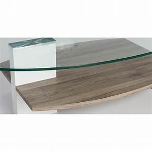 Table Basse Blanc Laqué Et Bois : table basse design verre et bois blanc laqu ch ne sable malorie ~ Teatrodelosmanantiales.com Idées de Décoration