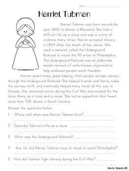 Harriet Tubman {reading Comprehension} By Smarter Students Tpt