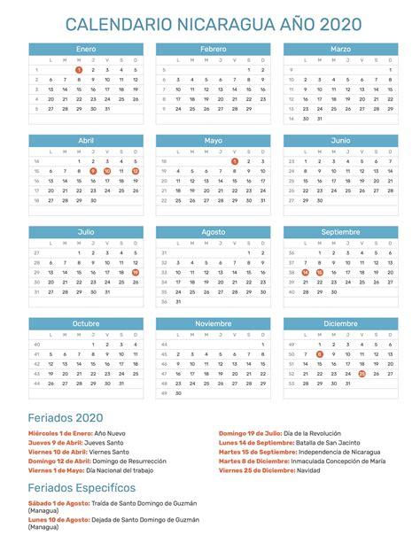 calendario de nicaragua ano feriados