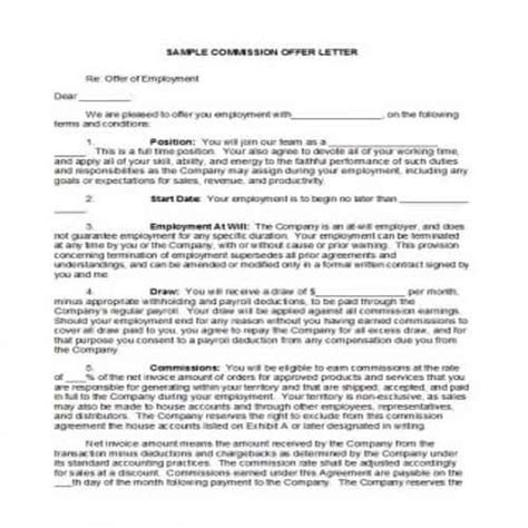 practical commission agreement templates besty templates
