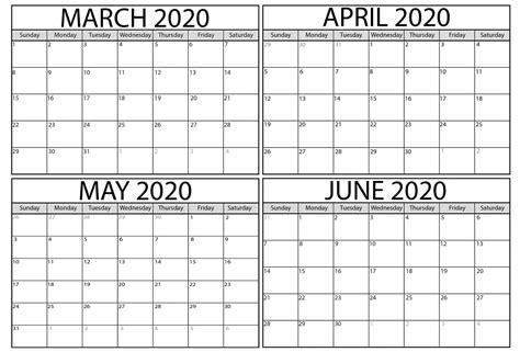 blank march  june  calendar   calendars