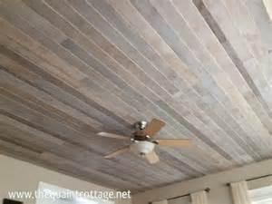 diy faux rustic plank ceiling via the quaint cottage