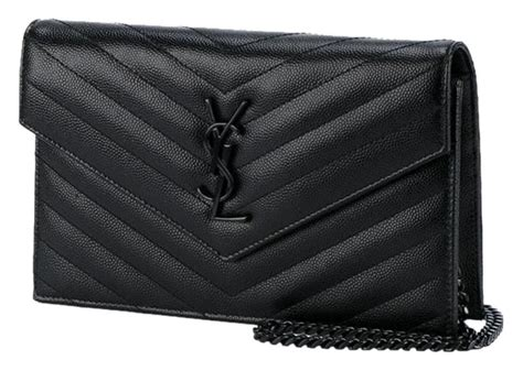 saint laurent monogram envelope chain wallet clutch rare ysl black leather cross body bag tradesy