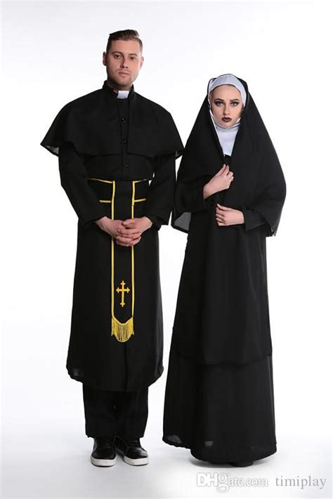 Halloween Male Female Nun Role Play Cosplay Suit Couples Priest Clothing Womenu0026#39;s Costume Male ...