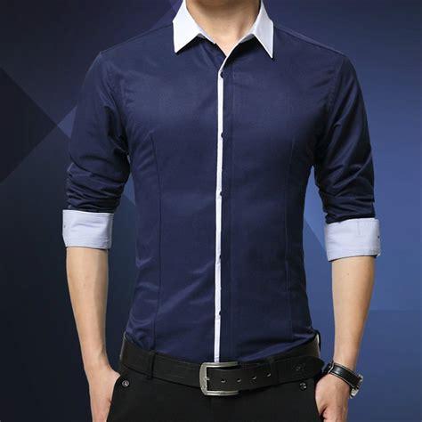 jual kemeja pria lengan panjang hnm biru putih abu navy