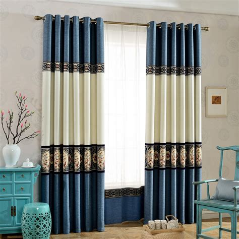 color block curtains blue and white jacquard chenille contemporary custom color