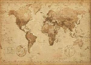 Affiche Carte Du Monde : affiche la carte du monde effet antiquit acheter ~ Dailycaller-alerts.com Idées de Décoration