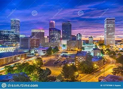Tulsa Oklahoma Skyline Usa Twilight Buildings Cities