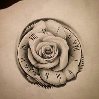 ideas  clock  rose tattoo  pinterest  tattoos pocket  tattoos