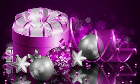 merry christmas  happy  year purple gift box