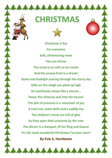 poems of christmas evie has used word to produce a christmas poem in hornbeam whilst