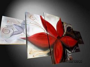 Tableau Fleurs Moderne : tableau abstrait contemporain fleur rouge ~ Teatrodelosmanantiales.com Idées de Décoration