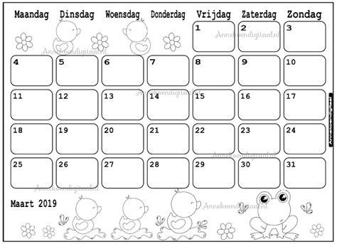 Kleurplaat Kalender Maart by Kleurplaat Kalender