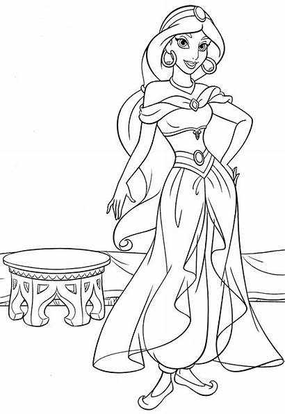 Jasmine Princess Coloring Pages Printable Disney Everfreecoloring