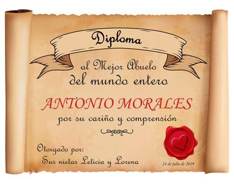diploma personalizado quot el mejor abuelo quot regalo original