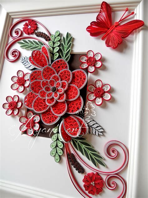 ayani art quilling  red  white