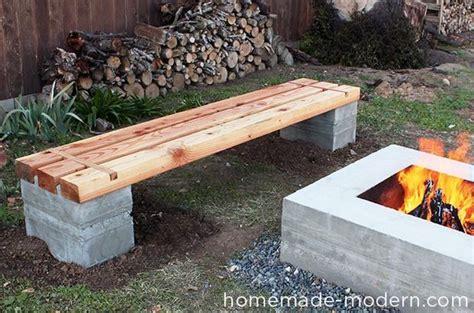modern diy outdoor concrete bench
