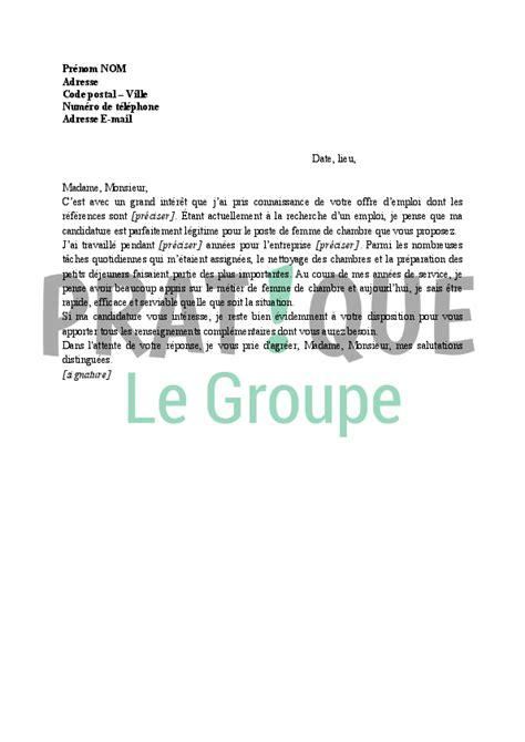 lettre chambre lettre de motivation pour femme de chambre pratique fr