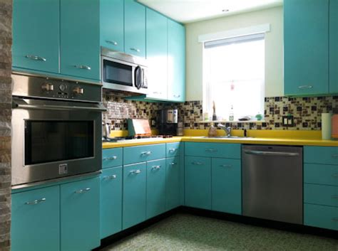 fashioned kitchen canisters recreates the look of vintage metal kitchen cabinets
