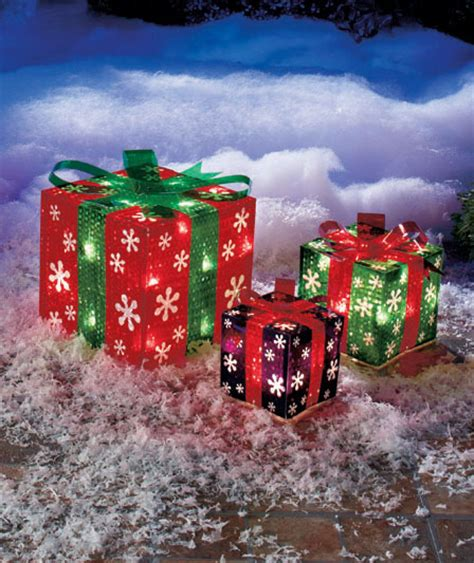 outdoor lighted christmas ornaments snowflake set of 3 lighted gift boxes indoor outdoor