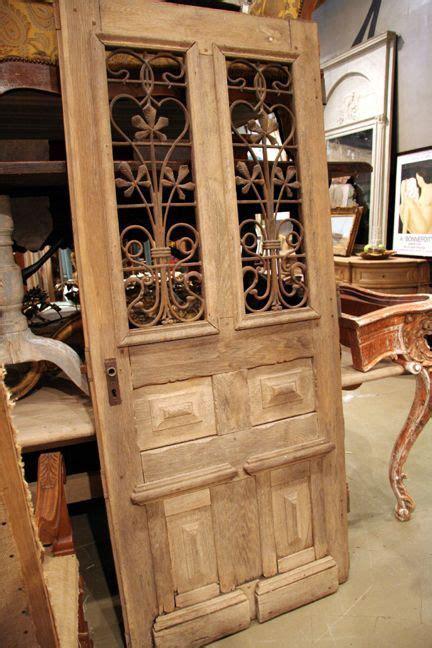 antique french napoleon iii style oak hall door  iron