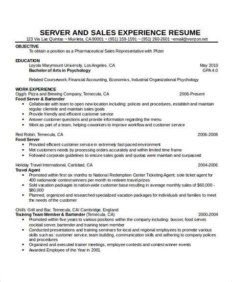 Waitress Bartender Resume Exles by Waitress Resume Template 6 Free Word Pdf Document
