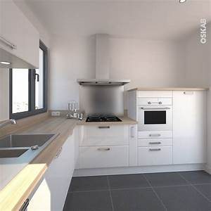 Cuisine design blanche brillante style scandinave for Idee deco cuisine avec meuble scandinave bois et blanc