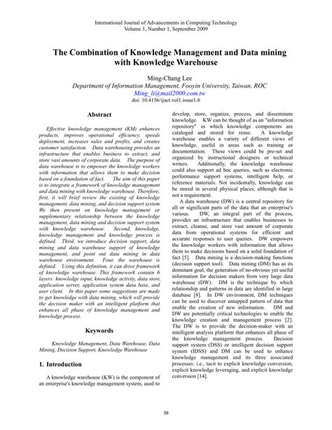 (PDF) The Combination of Knowledge Management and Data