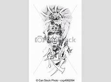 Dessin de tatouage, croquis, japonaise, art, Guerrier