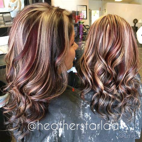 braune haare mit roten strähnen braune haare mit blonden und roten highlights hair ideas hair hair styles burgundy hair