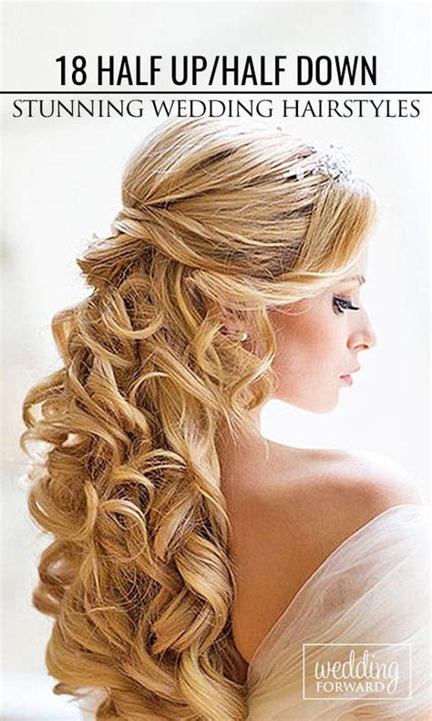 down wedding hairstyles half up half down and long curly