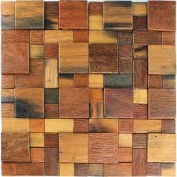 holz mosaik fliesen echtholz braun mix lackiert lz69231m